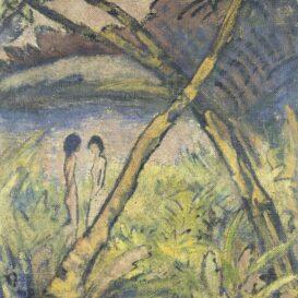 Otto Mueller - Zwei Maedchenakte und gekreuzte Staemme am Waldteich