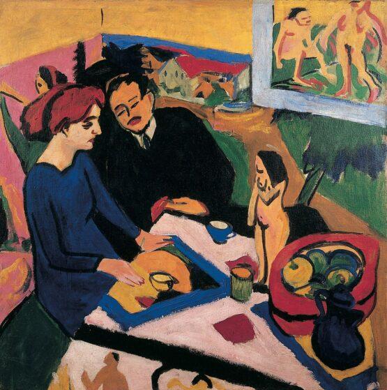Ernst Ludwig Kirchner - Erich Heckel und Doris im Atelier