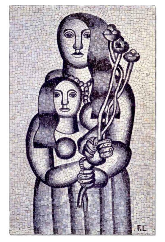 after Fernand Leger - Deux femmes aux fleurs sur fond gris