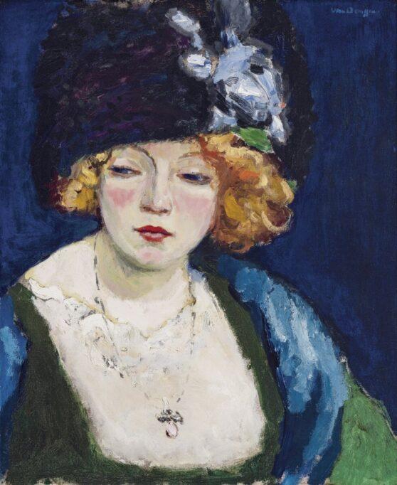 Kees van Dongen - Portrait de femme blonde au chapeau