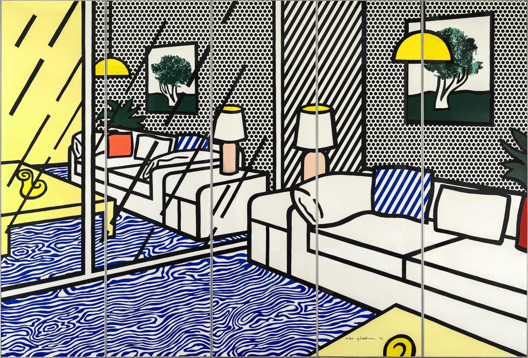 Roy Lichtenstein - Wallpaper with Blue Floor Interior 1/2