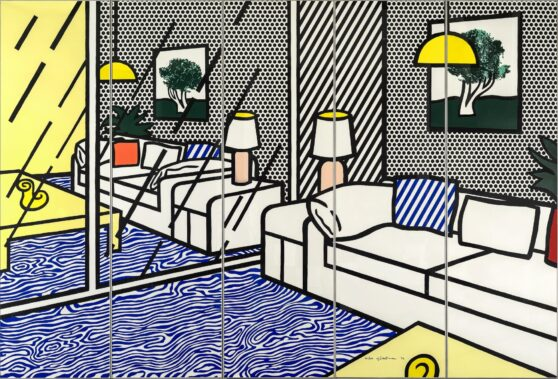 Roy Lichtenstein - Wallpaper with Blue Floor Interior 1/2