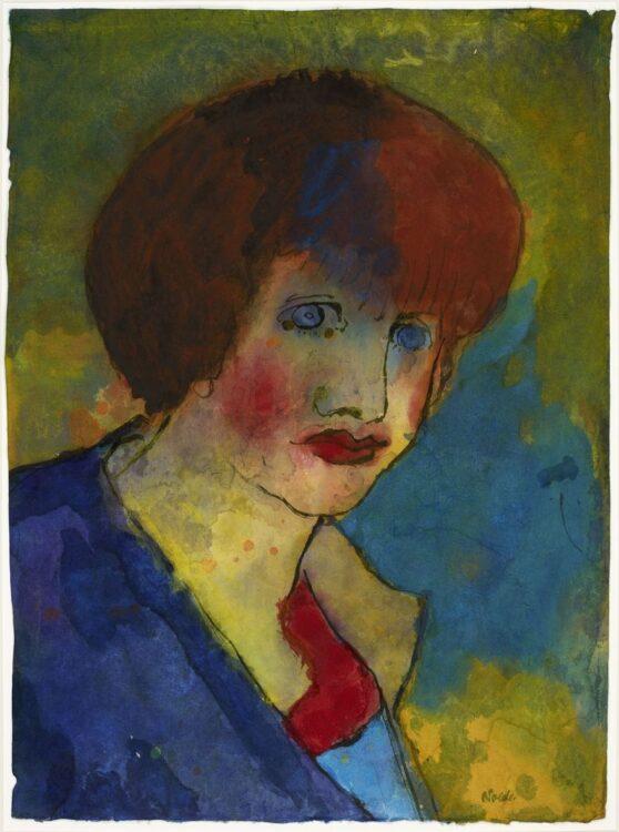 Emil Nolde - Frauenbildnis (braunes Haar, blaues Kleid)